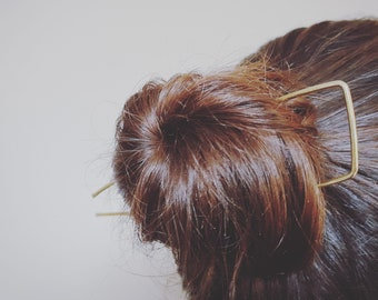 Gold hair pin, brass hair fork, simple hair pin, hair stick, bun holder, hair accessories, hair jewellery, boho hair