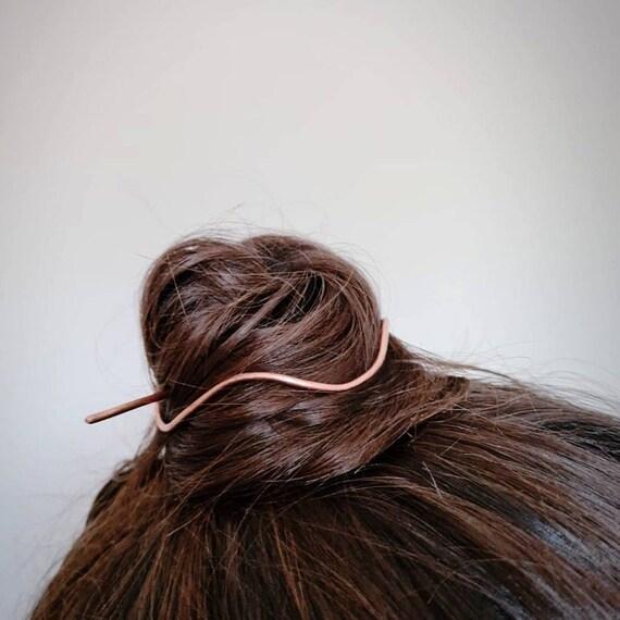 Bun holder, Copper hair cuff, Wave hair slide, Copper hair pin, Hair accessories for women, Bun cage , Messy bun