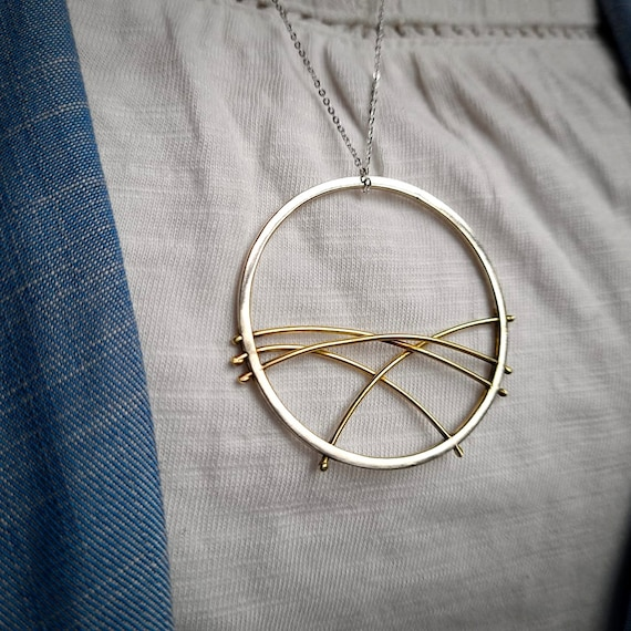 Rolling hills necklace, mountain necklace, abstract necklace, statement pendant, circle necklace, minimalist necklace, outdoor jewellery