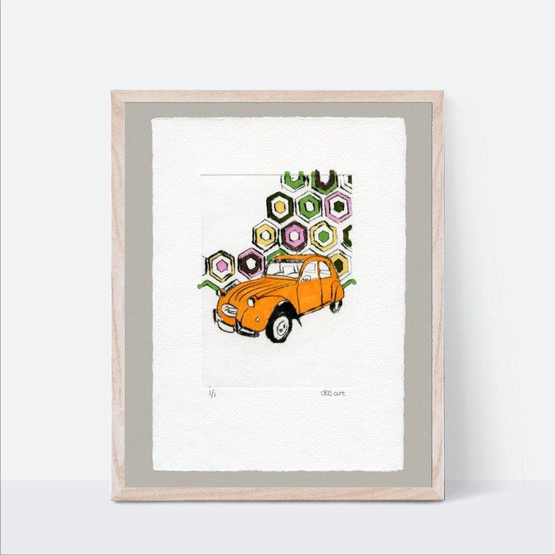 Car Nursery Wall Art Orange French 2CV  Classic Car Gravure image 0