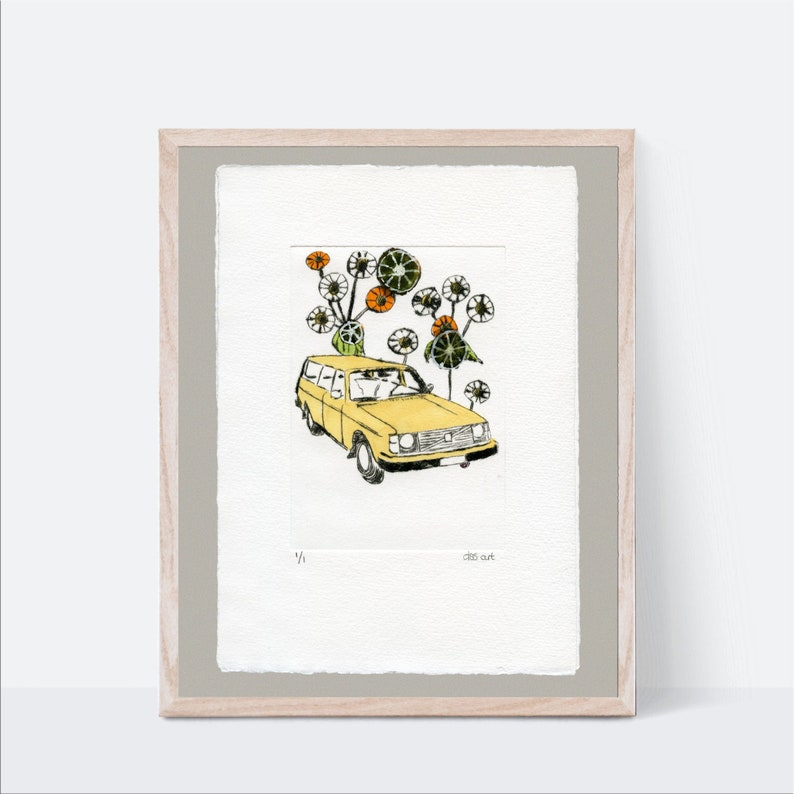 Swedish Car Nursery Wall Art Yellow 240 Wagon Classic Car image 0