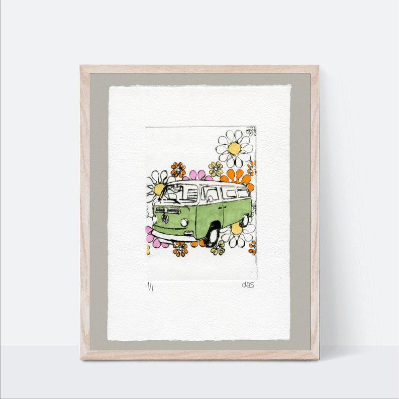 Camper Van Etching Green Bus Flower Art Print Vintage Car image 0