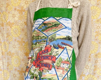 Lake District apron, upcycled vintage apron, retro apron, kitsch apron, recycled vintage tea towel, gift for cook, Lake District, cute apron