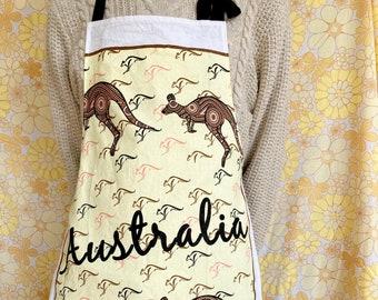 Australia apron, upcycled vintage apron, retro apron, kitsch apron, recycled vintage tea towel, gift for cook, kangaroo apron, cute gift