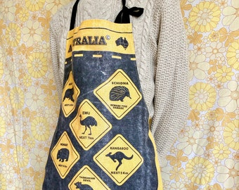 Australia apron, upcycled vintage apron, retro apron, kitsch apron, recycled vintage tea towel, gift for cook, kangaroo apron, fun gift