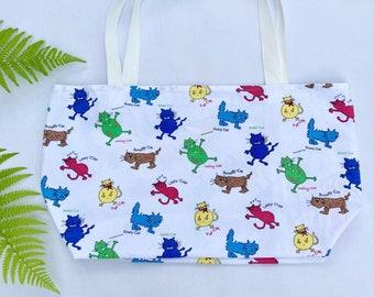 Cats tote bag, upcycled tote bag,  retro tote bag, recycled bag, y2k tote, market bag, upcycled vintage tea towel, vintage bag, cartoon cats