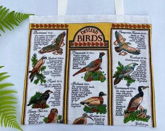 British Birds tote bag, upcycled tote bag, vintage tote bag, recycled bag, market bag, retro bag, upcycled vintage tea towel. vintage bag