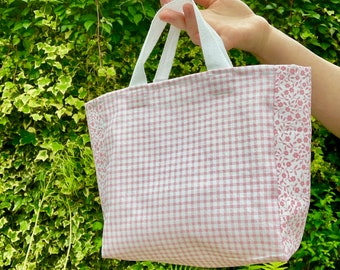 mini handbag, mini tote bag, reusable gift bag, eco gift bag, tiny pink bag, tiny handbag, cotton lunchbag, gift bag, cotton gift bag