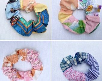 Scrappy scrunchies, rainbow scrunchie, upcycled scrunchies, cute scrunchies, stripe scrunchie, floral scrunchie, eco hair style, eco gifts