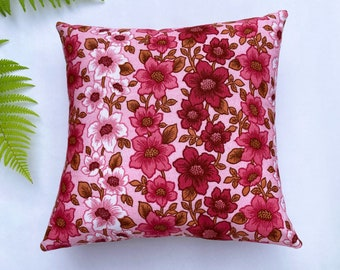 Pink seventies floral cushion cover, vintage cushion, vintage floral, vintage home, pink floral, pink vintage, 70s cushion, unique cushion