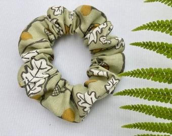 Botanical scrunchie, vintage scrunchies, upcycled scrunchie, leaves scrunchie, green scrunchie, recycled scrunchie, acorn scrunchie, floral