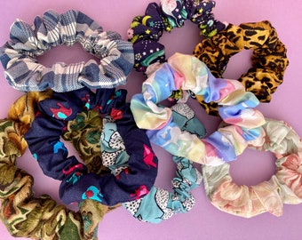 Colourful scrunchies, upcycled scrunchies, cute scrunchies, unicorn scrunchie, floral scrunchie, leopard print scrunchie, rainbow scrunchie