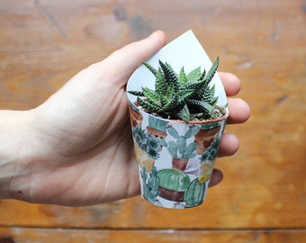 10 wedding favors or place cards with a little cactus pot paper decor in cactus pattern. Customization with guests names with a paper flag