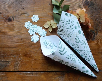 Confetti or rice cones for wedding and events. Paper cones with botanical pattern.