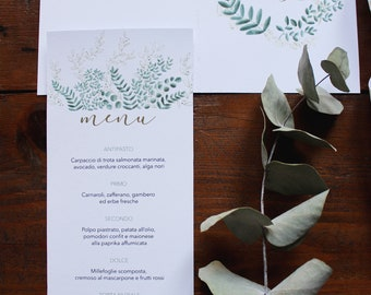 Printed menu for wedding and events. Botanical pattern with olive and eucalyptus leaves. Customizable. Size 105x240 mm / 4,13x9,44 inches