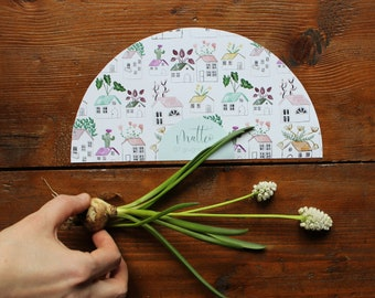 10 paper fans customizable with names and date. For baptism or other events. Gift for your guests.