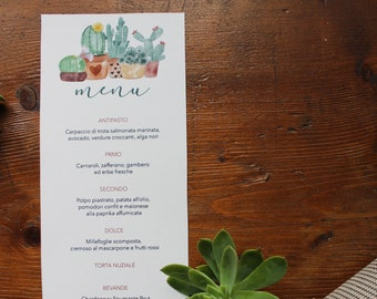 Printed menu for wedding and events. Botanical pattern with cactus and succulents pots. Customizable. Size 105x240 mm / 4,13x9,44 inches