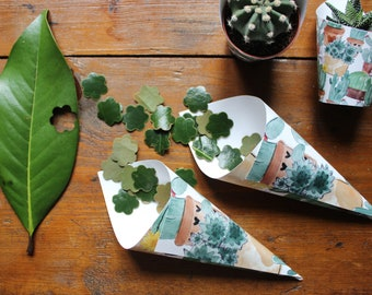 Confetti or rice cones for wedding. Paper cones with botanical pattern, with cactus and succulents.