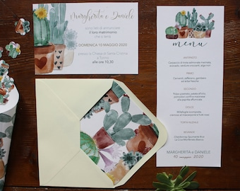 Wedding announcement with botanical theme, cactus and succulents. Envelopes included with botanical internal and sealing wax closing.