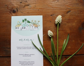 Printed menu for wedding, baptism and events. Botanical pattern with cottages and plants. Customizable. Size 105x240 mm / 4,13x9,44 inches