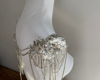 Flower Lace Body Chain With Pearl Beading and Crystal, Unique shoulder Chain for Bride DEW