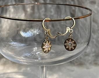 Delicate Simple Bridal, Star & Mother of Pearl Drop Pendant Wedding Earrings ASTRIA