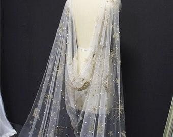 Star and Moon Pearl Sparkling Bridal Cape, Celestial Wedding Veil PROSPERO