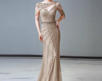 Unique Blush Wedding Dress in 20's Art Deco Style, Bridal Gown in Blush and Silver Beading ANDROMEDIA
