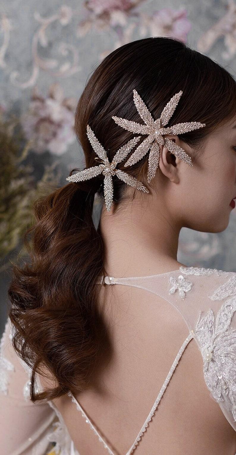 Wedding Hair Comb Set OPEN Crystal Flower Bridal