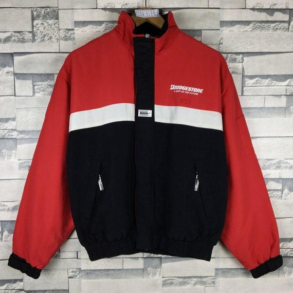 BRIDGESTONE Jacket Medium Vintage 90s Bridgestone Potenza RE710 Racing Motorspors Sportswear Zipper Light Windbreaker Jacket Size M