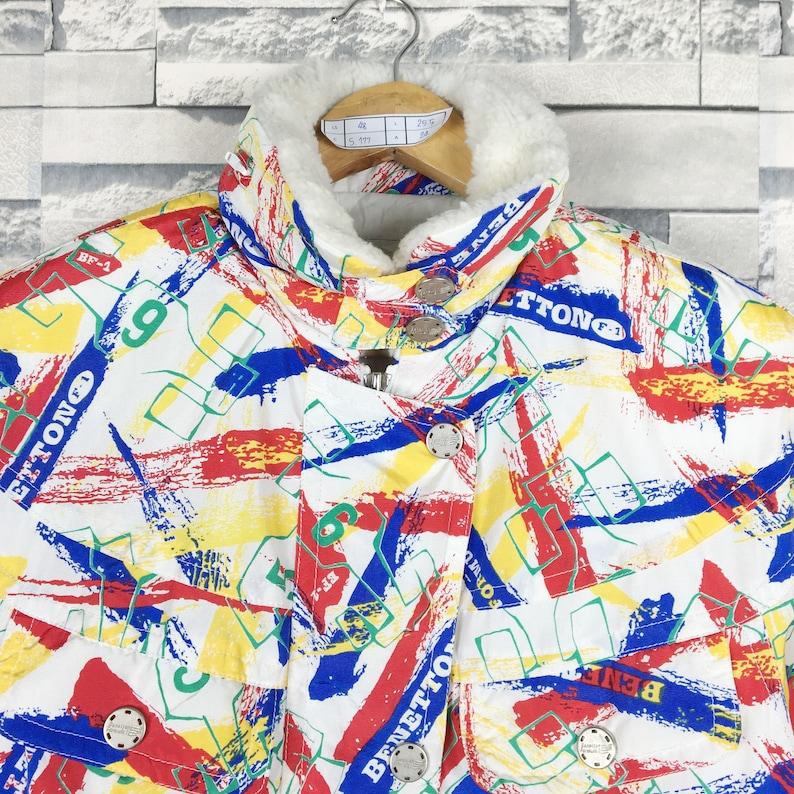 Benetton Formula 1 Jacket Medium Vintage 90s Benetton Formula 1 Ski All Print Bomber Jacket Size M