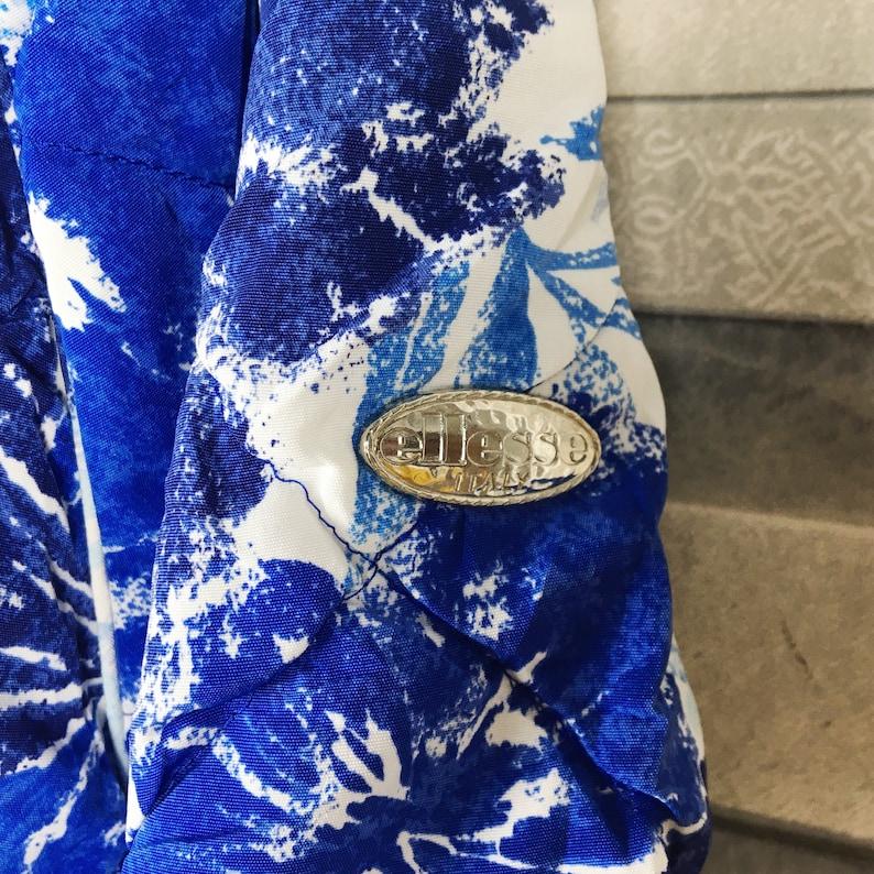 ELLESSE Flower Ski Jacket Women Medium Vintage 90s Ellesse Italy Floral Ski Wear Warmer Skiing Snow Bombers Hoodie Jacket Size Ladies M