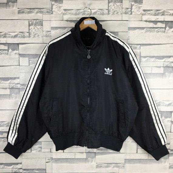 ADIDAS Light Black Jacket Medium Vintage 90s Adida