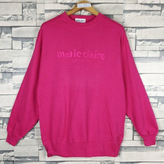 Pick! Vintage 90s Marie Claire Very Big Logo Embroidedy With Bling Bling Pullover Fashion Sweater Girl Size M