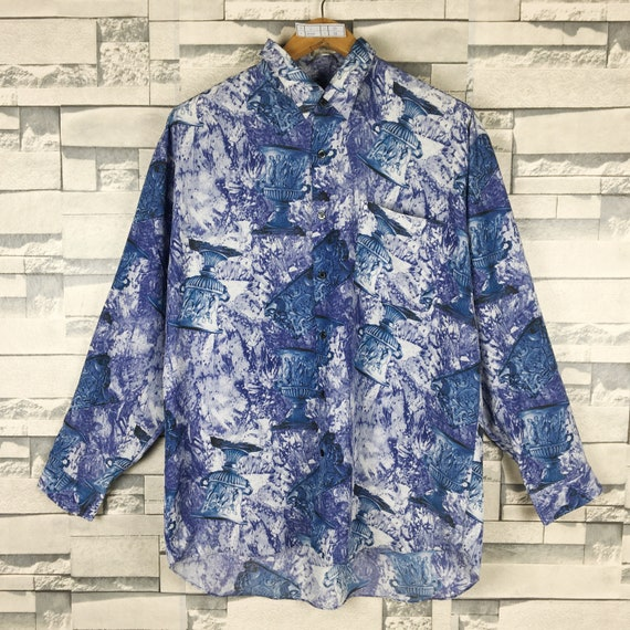Vintage 90/'s CRYSTAL Novelty Baroque Silk Shirt Large Pop Art Gold Chain Luxury Style Tartan Psychedelic Oxfords Buttondown Size L