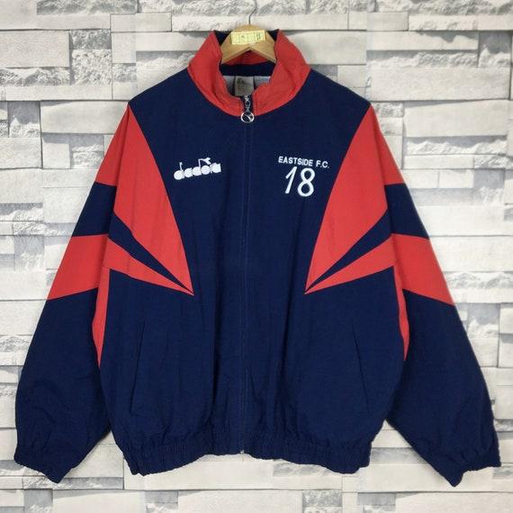 Vintage! Diadora Windbreaker Jacket Pullover Zipper Long Sleeve Nice Design Side Tape Multi Colour in size Large