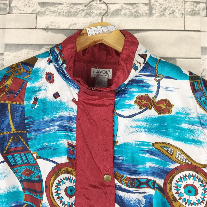 Vintage Lavon Light Jacket Ladies Large Vintage 90s Lavon Colorblock Sport Light Zipper Multicolor Windbreaker Nylon Jacket Size Ladies L