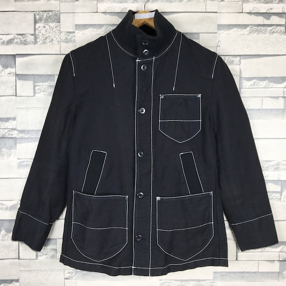 Japanese Brand Denim Black Jacket Medium Vintage J