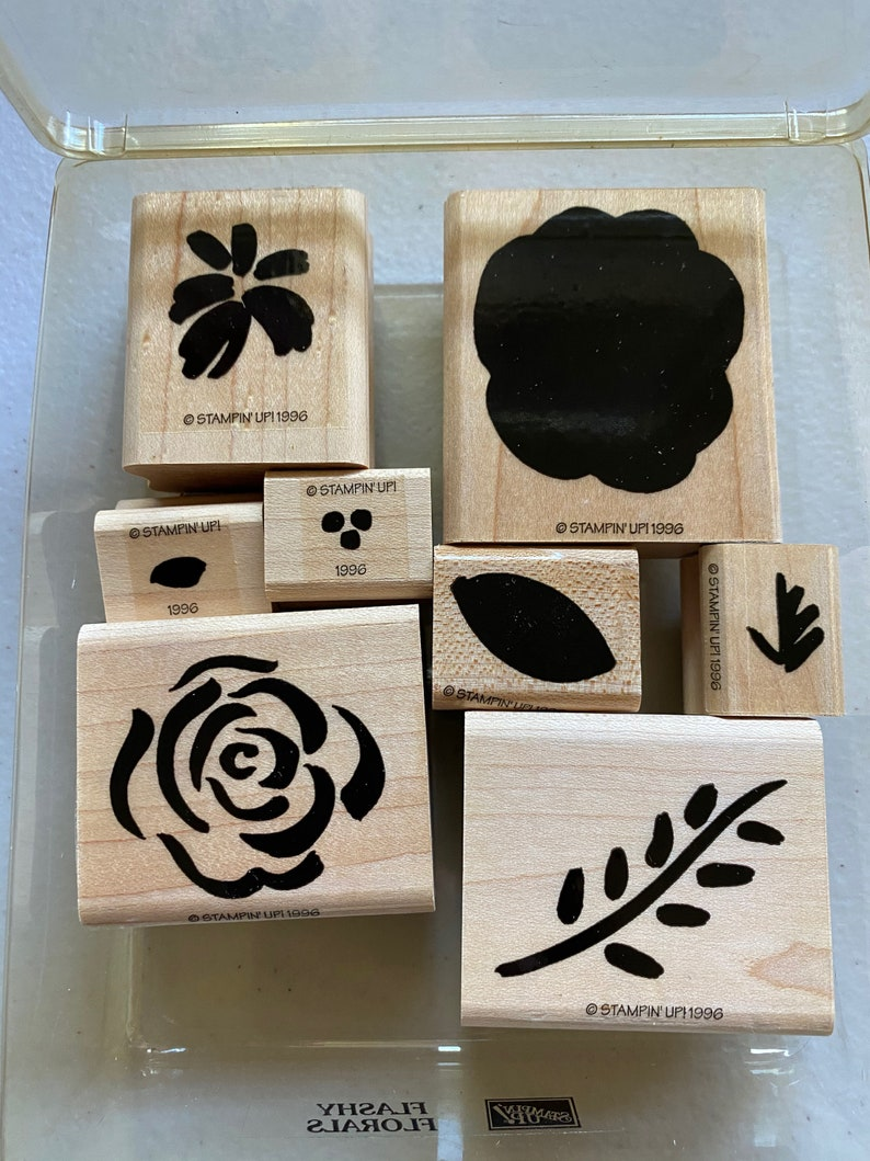 Set of 8 Stampin/' Up Flashy Florals Rubber Stamps
