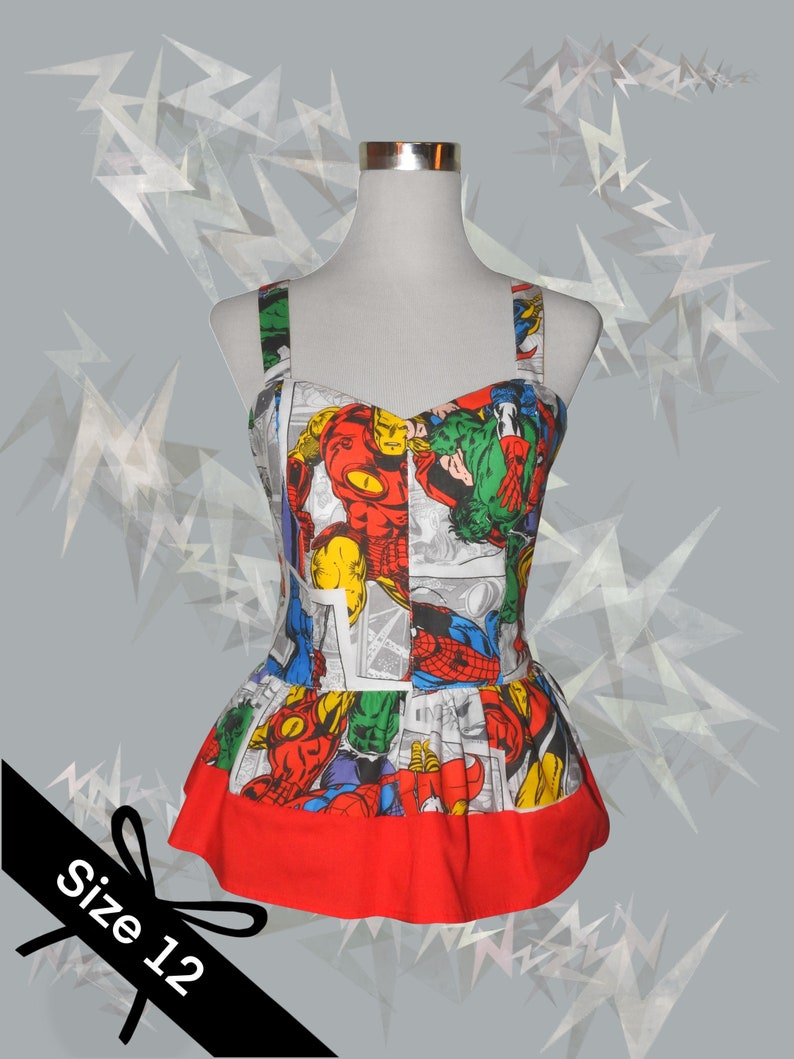 Shirred elastic back- Size 12 Red peplum White Marvel Avengers comic print Women\u2019s top