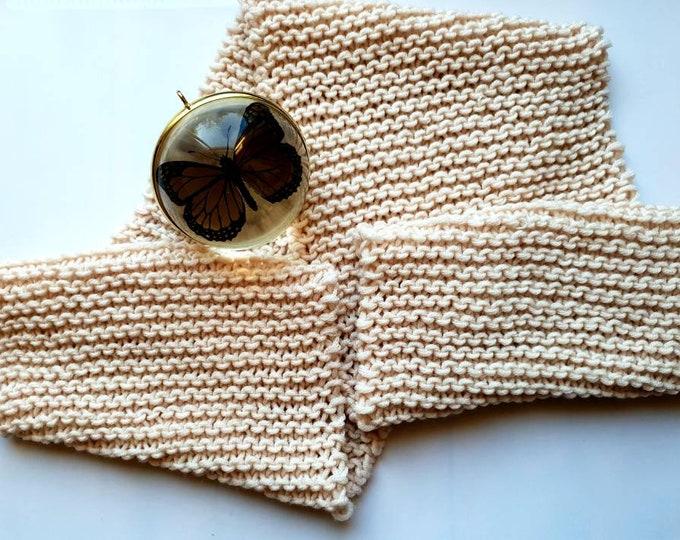 Super soft loose knit cream scarf