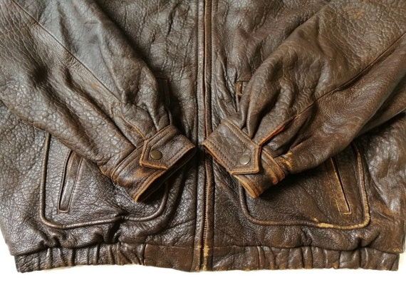 Vintage Time & Tide Leather Flight Jacket - image 8
