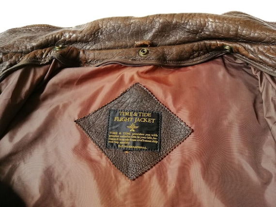 Vintage Time & Tide Leather Flight Jacket - image 7