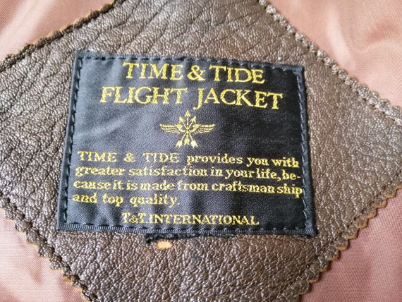 Vintage Time & Tide Leather Flight Jacket - image 4