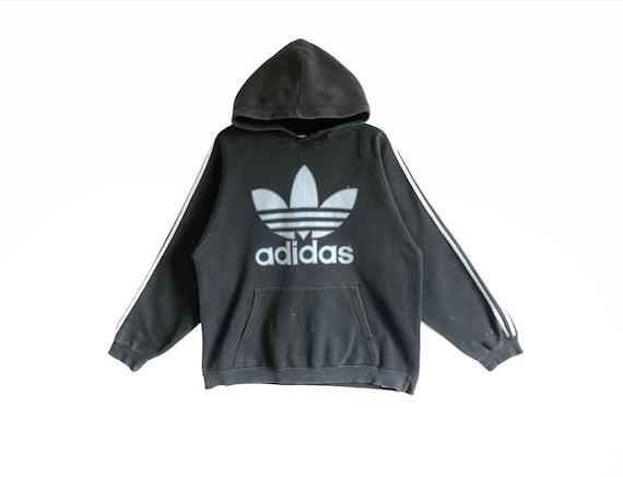 Vintage Adidas Big Logo Hoodie Sweatshirt Distress