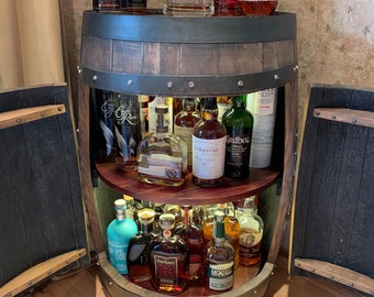 Bourbon Barrel Cabinet-engraving available