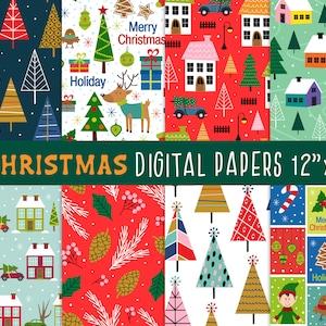Christmas digital paper  Christmas seamless pattern Vintage christmas Christmas ornaments Christmas decor Digital background Nursery decor