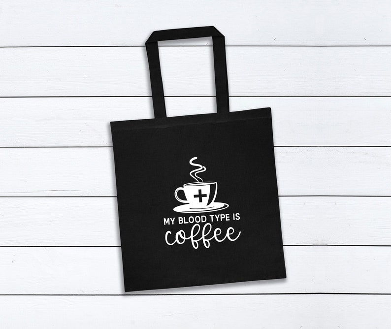 Carrier Bag Vast Space Art Caffeine Addict Gift Canvas Tote Bags My Blood Type is Coffee Shopping Bag Travel Lover Tote Bag