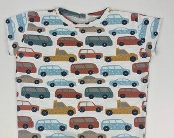 Sweaty cars Sweatshirt braun Autos nähen  Kinderstoff Sweatstoff 50 cm