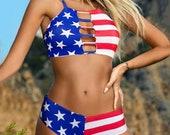Women 39 s American Flag Print Stars Stripes Bikini Sexy 2 Two Piece Swimsuit